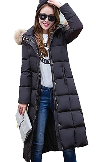 8a3e3c7c7 Women's Winter Thicken Maxi-Length Down Coats Jackets with Faux Fur Hood