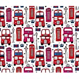 London Fabric - London Icon Bus Taxi and Telephone Booth by littlesmilemakers - London Fabric with Spoonflower - Printed on Linen Cotton Canvas Fabric by the Yard