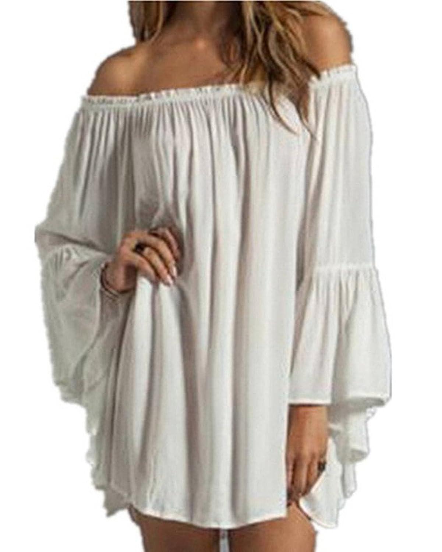 OYMMENEY Sexy Damen Kleid Schulterfrei Sommerkleid Shirt Tunika Tunikakleid Bluse Oberteil Damenbluse Kleider Minikleid Top Kurz Frühling Herbst