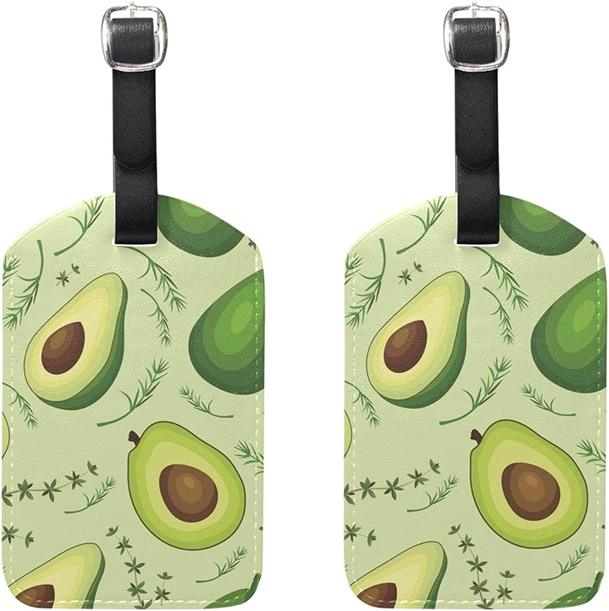 Kiwi Fruit Leather Luggage Tags Suitcase Tag Travel Bag Labels With Privacy Cover For Men Women 2 Pack 4 Pack