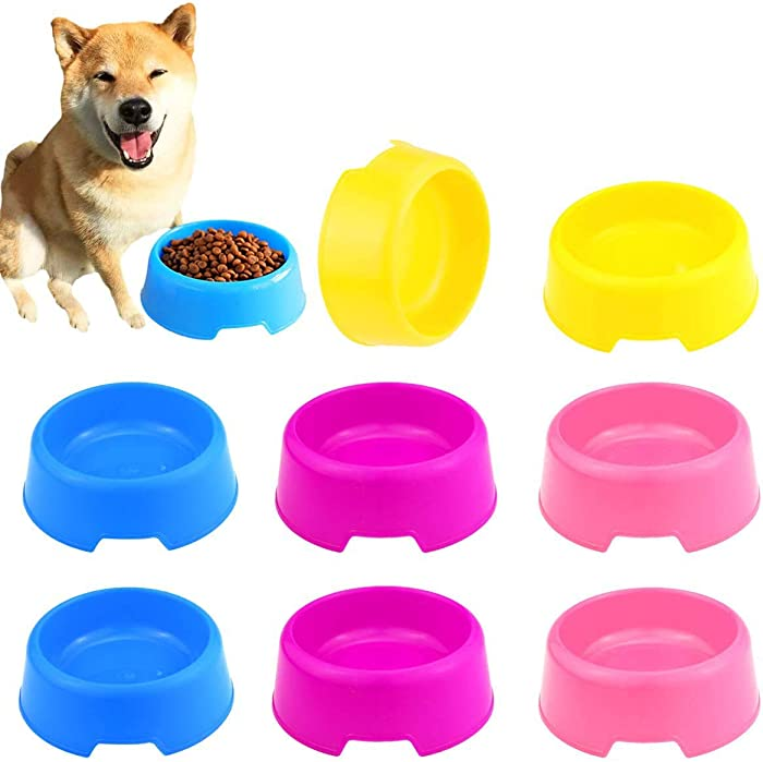 BcPowr 16 PCS Pet Plastic Bowls Dog and Cat Supply Plastic Food Feeding Water Dish Bowl Feeder