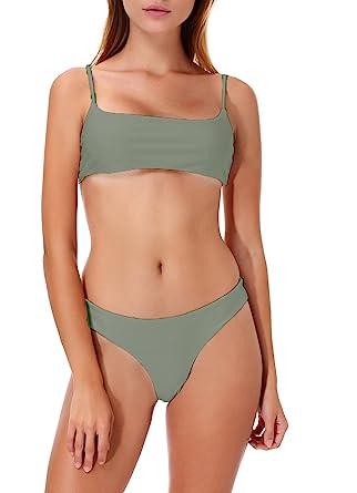 fee32a098d Amazon.com  Womens Bikini Set High Cut Bralette Top Cheeky Triangle Bottoms  Solid Swimsuit Swimwear Bathing Suit  Clothing
