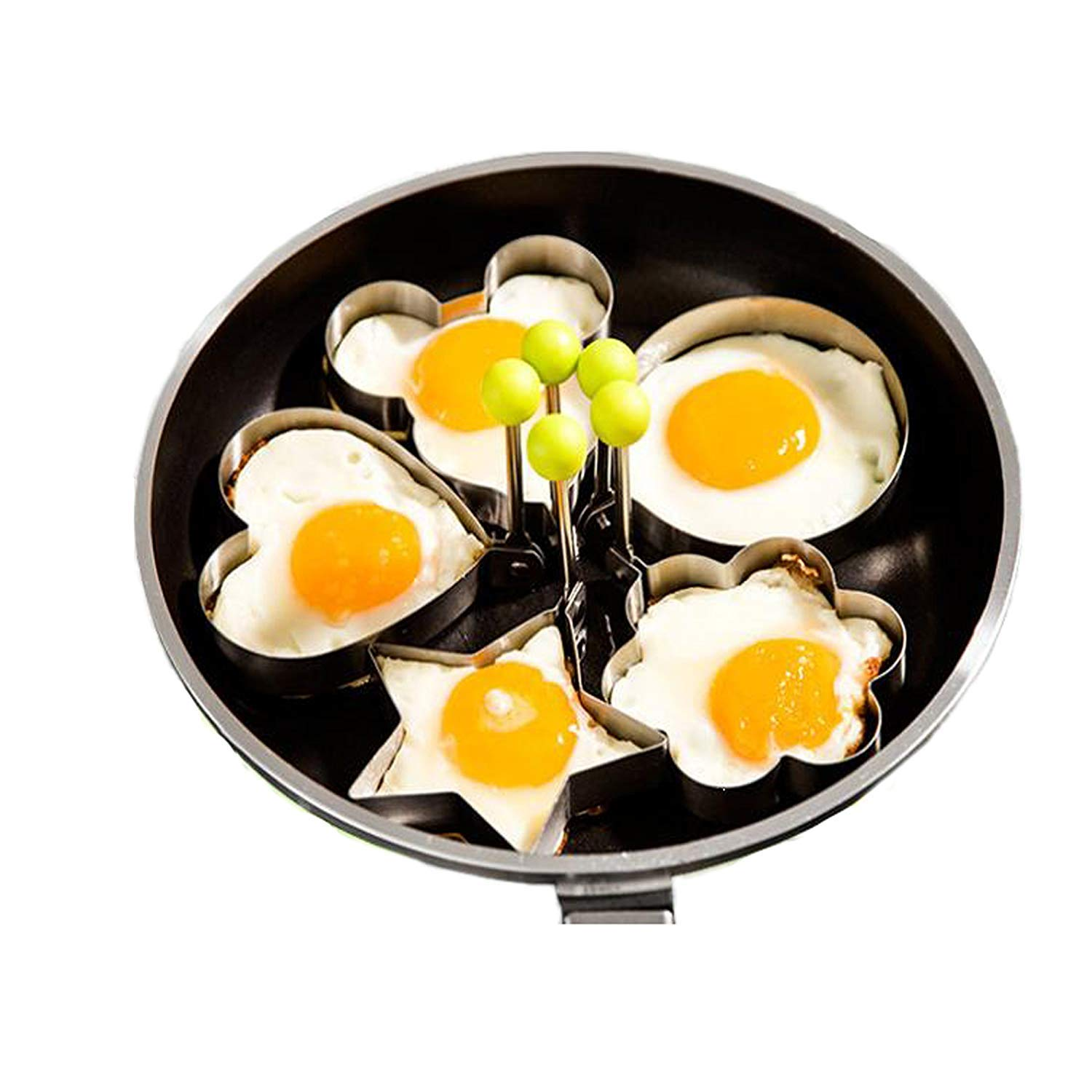 Magik 5 Pcs Fried Egg Non Stick Stainless Steel Pancake Ring Mold Cooking Kitchen Tools by Magik (Image #9)