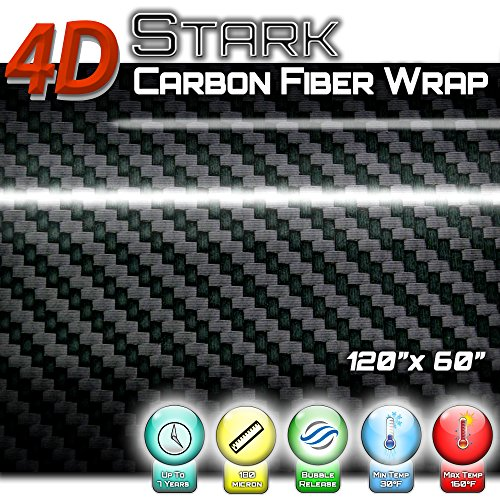 - 4D Black Carbon Glossy Fiber Vinyl Wrap Sticker Air Release Bubble Free Anti-Wrinkle 5 x 10 FT Feet / 60