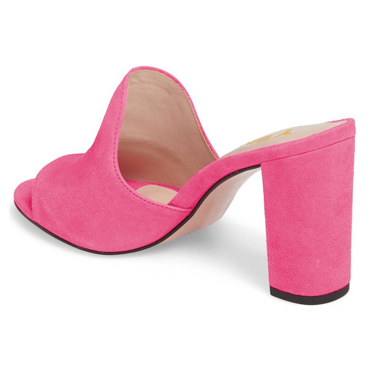 YDN Mujeres Peep Toe de Chunky Mocasines Rosado de tacón Zapatillas ...