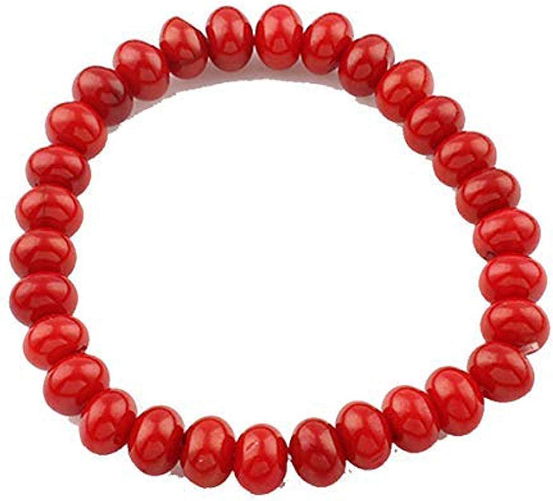TreasureBay Impresionante pulsera para mujer de coral rojo natural de 6 x 9 mm, 17,5 cm