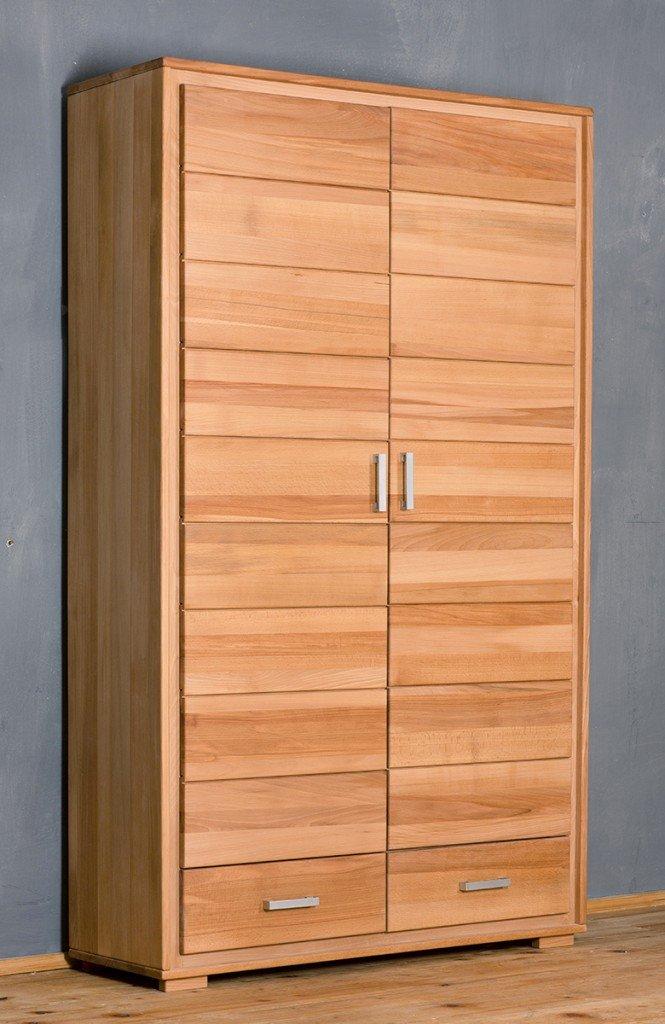 Dielenschrank Genf 2-türig - Kernbuche Massivholz geölt/gewachst, Ausführung der Schubladen:mit normalen Auszug