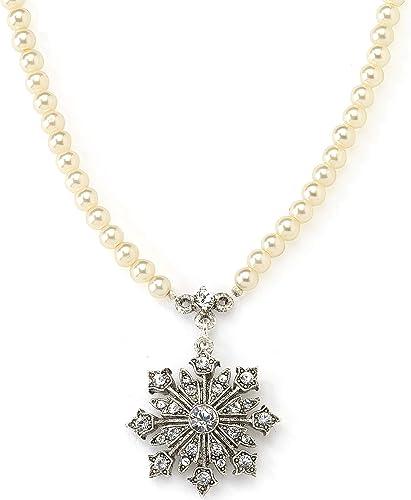 1928 Jewlery Gold-Tone Black Enamel Heart with Swarovski Crystal Accent Necklace 16 Adj.