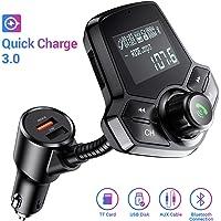 Transmetteur FM Bluetooth pour voiture avec Ainope V4.2, adaptateur radio sans fil QC3.0 et deux ports USB 2.4A intelligents, entrée / sortie AUX, lecteur MP3 à carte TF