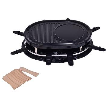 Barbacoa Eléctrica de raclette Party Grill – Parrilla para mesa Barbeque parrilla Raclette con 8 Masilla