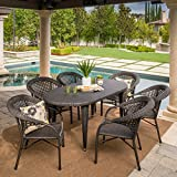 Matador Outdoor Dining Set | 7 Piece | Premium Wicker | Oval Table with Stacking Chairs | Perfect Patio Set for Backyard Deck or Poolside