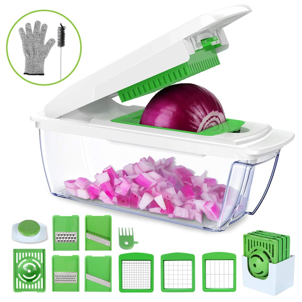 uvistare Onion Chopper, Vegetable Chopper Dicer Cutter, All-IN-1 Mandoline Slicer Grater with Cut Resistant Glove & Brush for Eggplant, Cucumber, Zucchini, Cheese, Carrot (Green)