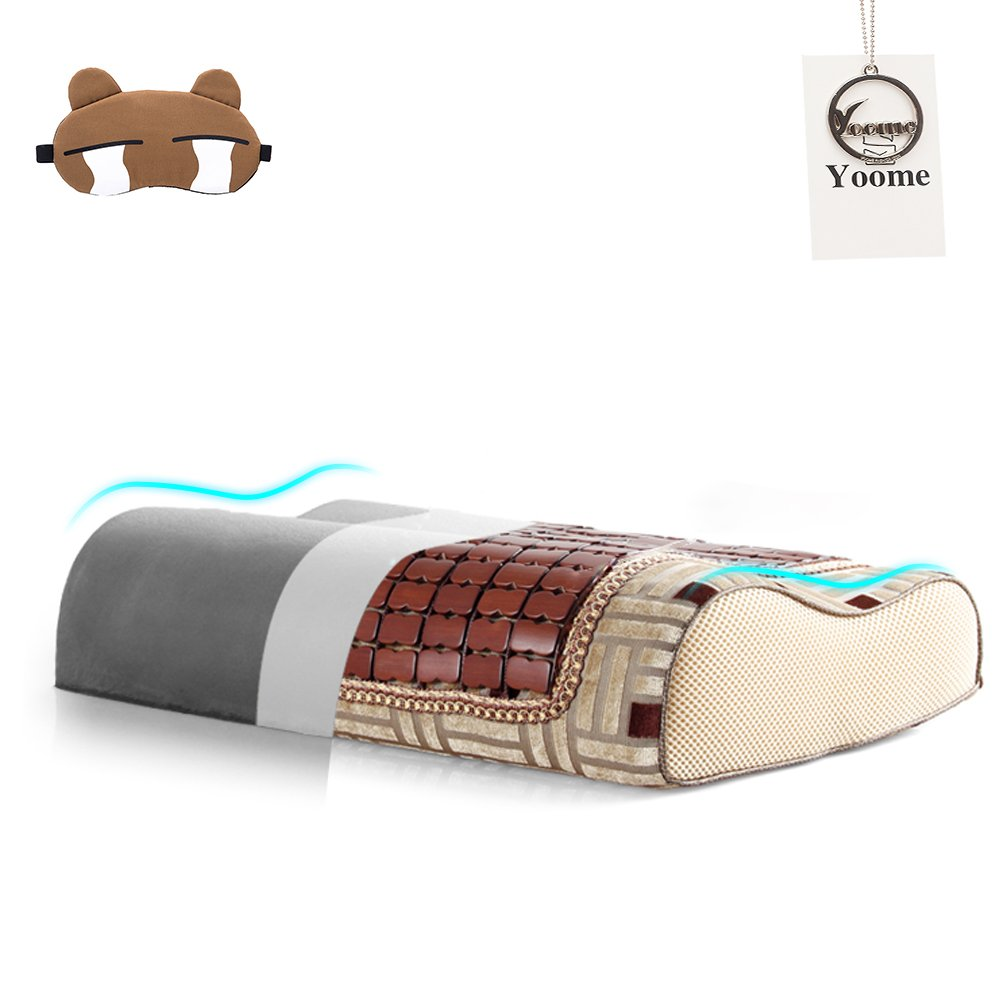 Yoome Summer Bamboo Mahjong Memory Foam Pillow,Cool Mat Neck Pillow,Brown Summer Mat Pillow with Bamboo Charcoal Core,2 Sizes Available