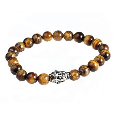 Homme Beydodo De Jaunes Tete Bracelet Acier Perles Bouddha T1JcuFlK35