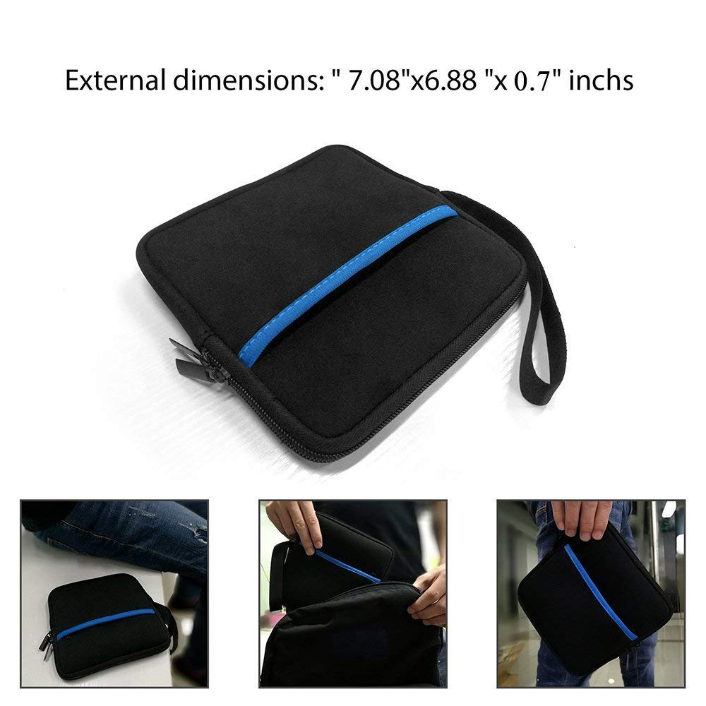 YAHEY External USB CD DVD Drive Protective Sleeve Shockproof Neoprene Carrying Sleeve Case Storage Pouch Bag with Extra Pocket Design for External Blu-Ray Drive Disc Player Hard Drive (Black) by YAHEY (Image #6)