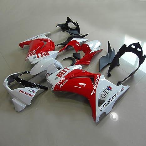 Moto Onfire ABS Injection Molded Fairing Kits for Kawasaki Ninja 250R EX250(2008-2012, Red/white, Full Fairing Set Included)