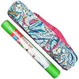 Sale Best Fun Yoga Lover Green Mat with Yoga Paisley Tote Matpack Travel Tote Bag with Zipper Strap Handle Set Christmas Clearance Deal Accessories Gift Idea for Women Teen Girl (Paisley Tote & Mat)