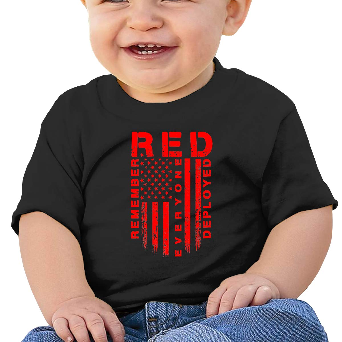 Red Friday American Flag Toddler Baby Newborn Short Sleeve T Shirts 6-24 Month Cotton Tops