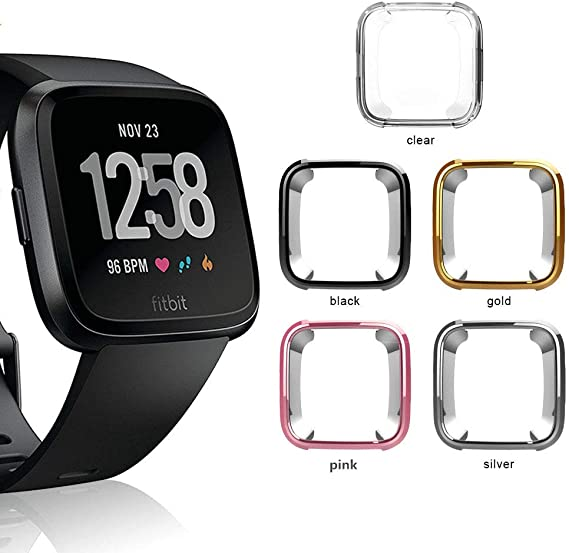 Landhoo Protector Screen for Fitbit Versa,Soft TPU Plated Case All-Around Cover Bumper for Fitbit Versa Smart Watch(8Pack)