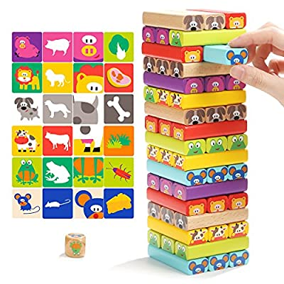 Colored Wooden Blocks Cartoon Stacking Game for Kids 51 pieces