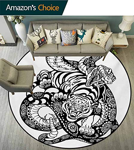 RUGSMAT Tiger Modern Machine Washable Round Bath Mat,Tattoo Style Scene of Two Animals Struggling Long Snake with Sublime Large Cat Non-Slip Soft Floor Mat Home Decor,Round-55 Inch
