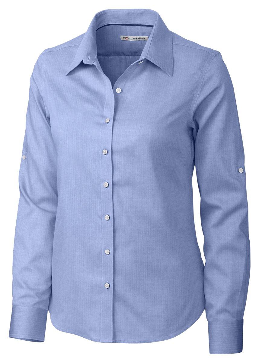Cutter & Buck Women's Epic Easy Care Long Sleeve Mini Herringbone Collared Shirt, Blue, XS