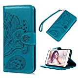 iPhone 6 Plus Case, iPhone 6S Plus Wallet Case,YOKIRIN Premium Soft PU Leather Notebook Cover Embossed Totem Flower Design Kickstand Function Card Holder and ID Slot Slim Flip Protective Skin,Blue