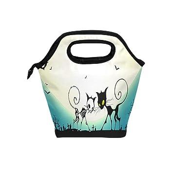 TIZORAX Halloween calavera gatos aislado bolsa de almuerzo al aire libre viaje picnic bolsa de transporte almuerzo bolso de mano para mujeres hombres niños: ...