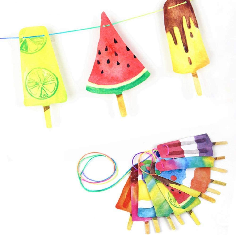 Decoraciones Fiesta Imprimible Popsicle Garland Banner Bunting Ice Pop Ice Cream Summer Party Kids Birthday PartyBbq Decorations