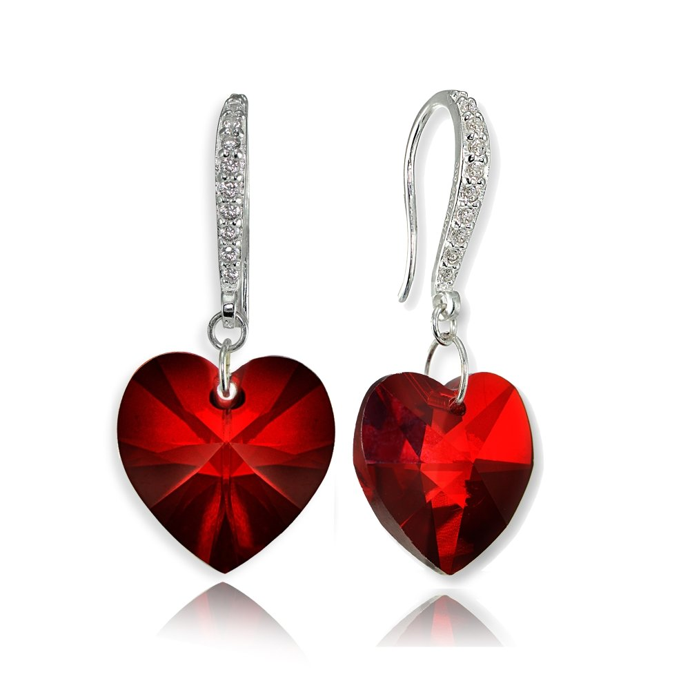 Sterling Silver Red Heart Necklace and Dangle Earrings Set Created with Swarovski Crystal by GemStar USA (Image #4)