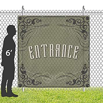 CGSignLab 8x8 Entrance Victorian Gothic Wind-Resistant Outdoor Mesh Vinyl Banner