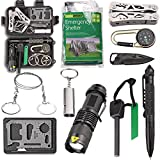 EMDMAK Survival Kit Outdoor Emergency Gear Kit with Emergency Survival Tent for Camping Hiking Travelling or Adventures (Pack of 11 pieces)