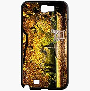 Unique Design Fashion Protective Back Cover For Samsung Galaxy Note 2 Case Fall Park Bench Nature Black