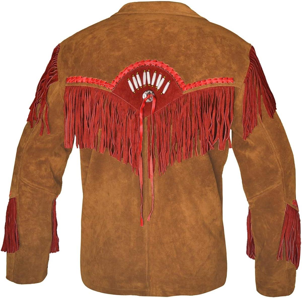 MSHC Western Cowboy Mens Brown Fringed Suede Leather Jacket D1 XXS-5XL Brown RED Blue Black