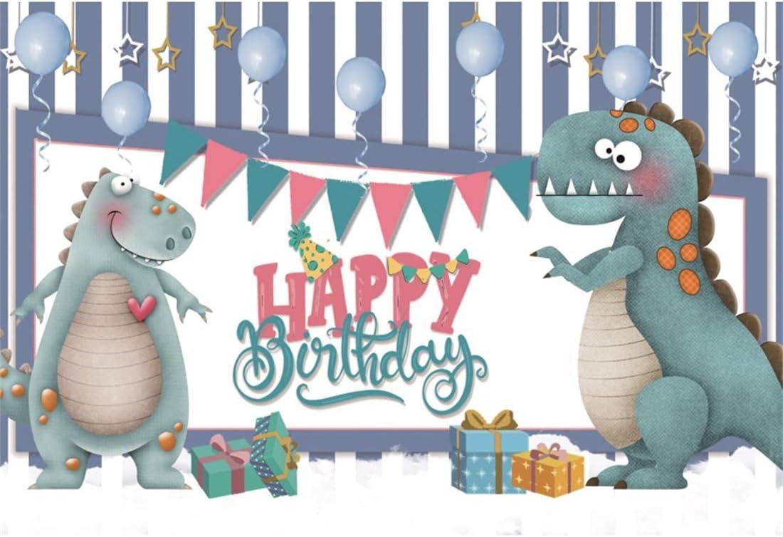 Yeele Birthday 6x4ft Photography Background Dinosaur Birthday Party Decoration Cartoon Gift Box Gray and White Stripe Photo Backdrop Baby Child Portrait Shooting Studio Props