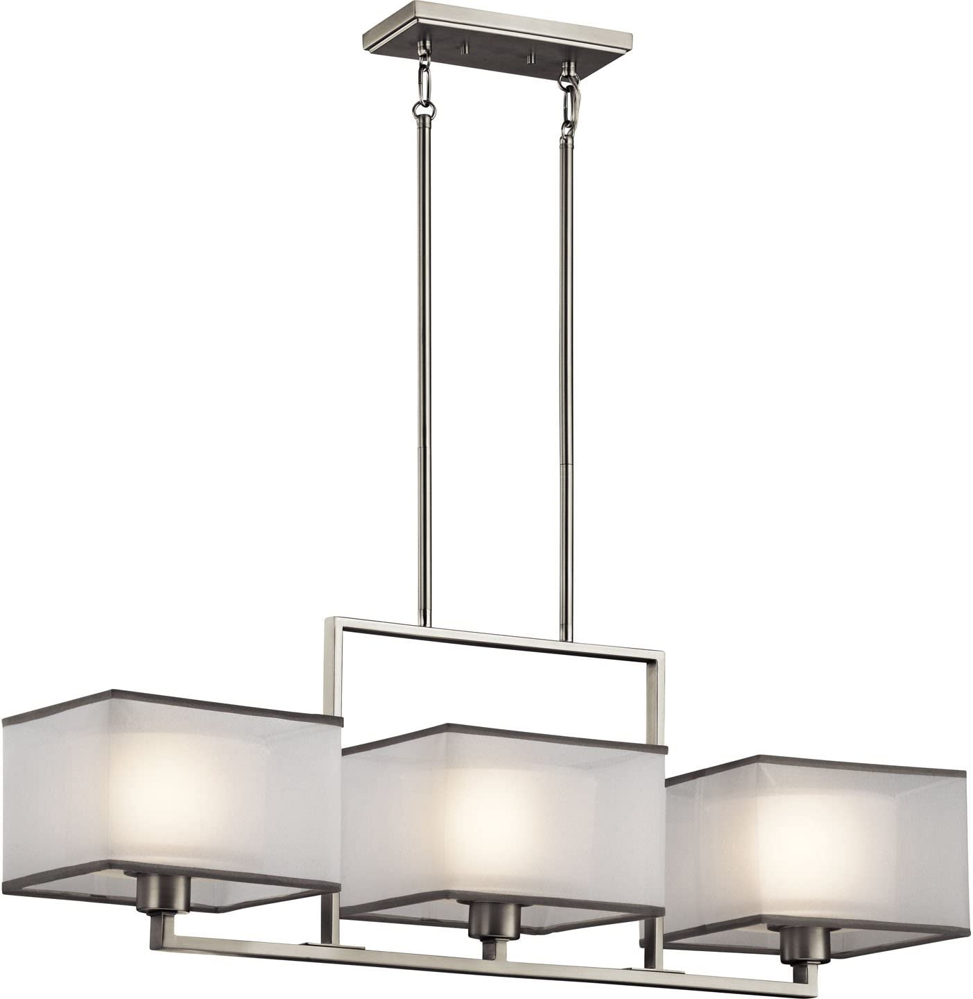 Kichler 43437NI Kailey Linear Chandelier 3-Light, Brushed Nickel
