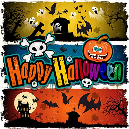 Leyiyi 10x10ft Gothic Happy Halloween Backdrop Pumpkin Lantern Vintage Castle Full Moon Ghost Skull Tomb Gloomy Forest Photography Background Scary Costume Carnival Photo Studio Prop Vinyl Wallpaper ()