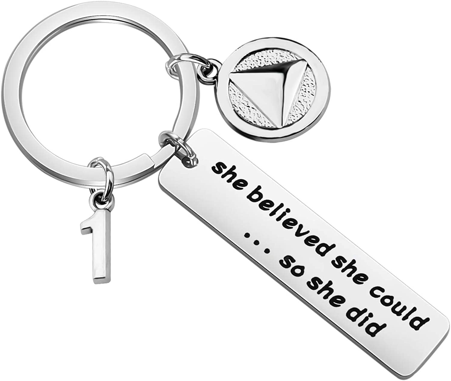 POTIY Sobriety Keychain Sober 5 Year Anniversary Gift Alcoholics Keychain She Believed She Could So She Did Sobriety Gifts AA Recovery Gifts Recovery Symbol Gift