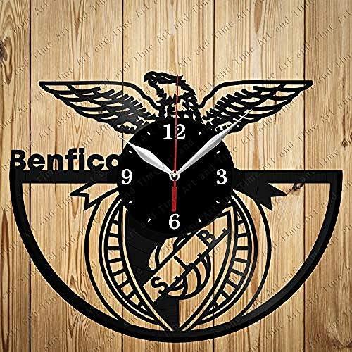 AIYOUBU Vinyle Horloge Benfica D/écor Maison Horloge Murale Noir Cadeau Original Design Unique