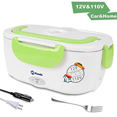 Electric Lunch Box, Kowth 2 in 1 Food Heater Warmer 1.5L with Removable Stainless Steel Container Portable for Car, Office, School and Home Use 110V & 12V 40W, Spoon and Fork Included (Green): Kitchen & Dining