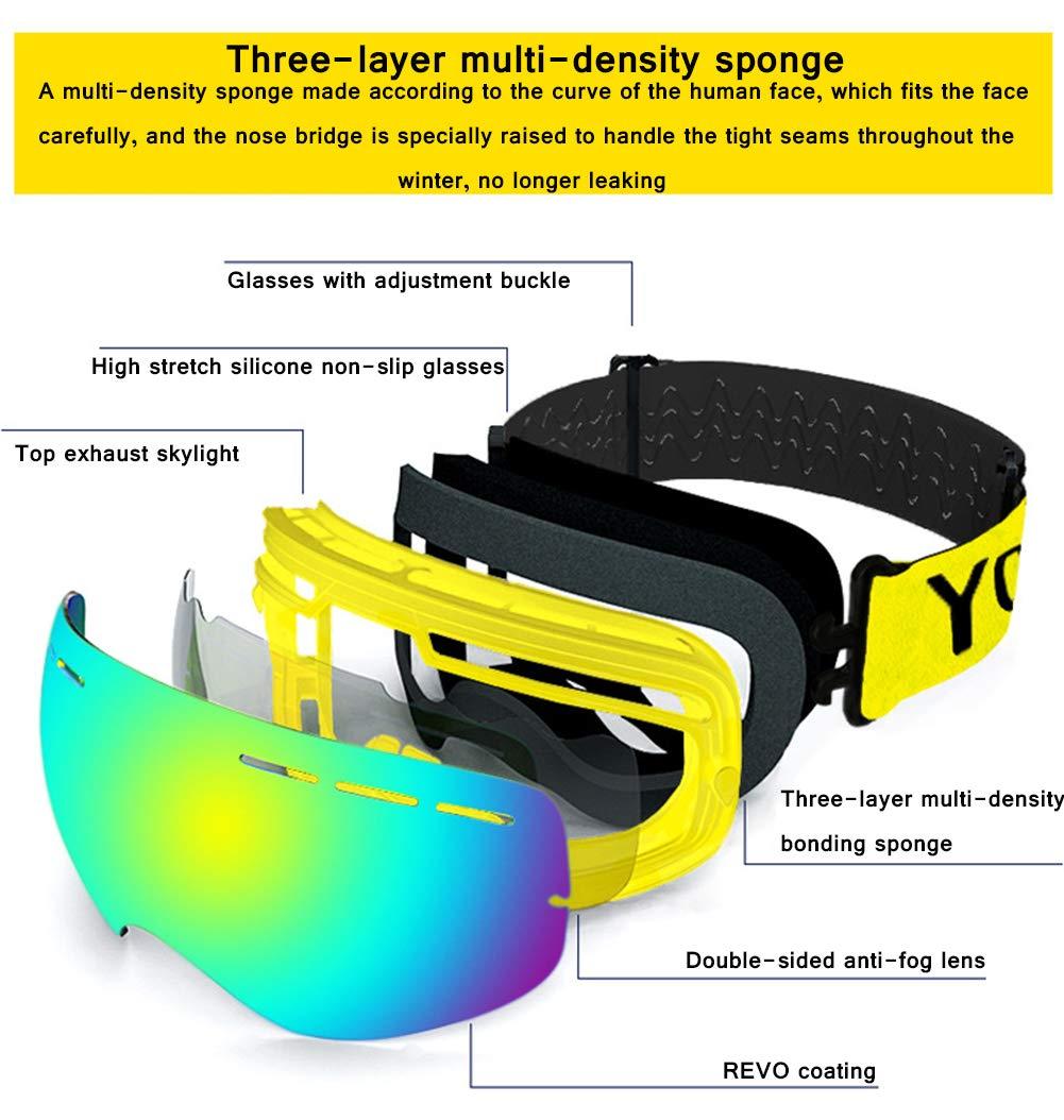 e47aefcbca Gafas de esquí lentes de doble lente de resistencia al viento UV anti-reflejo  del sistema de niebla se ...