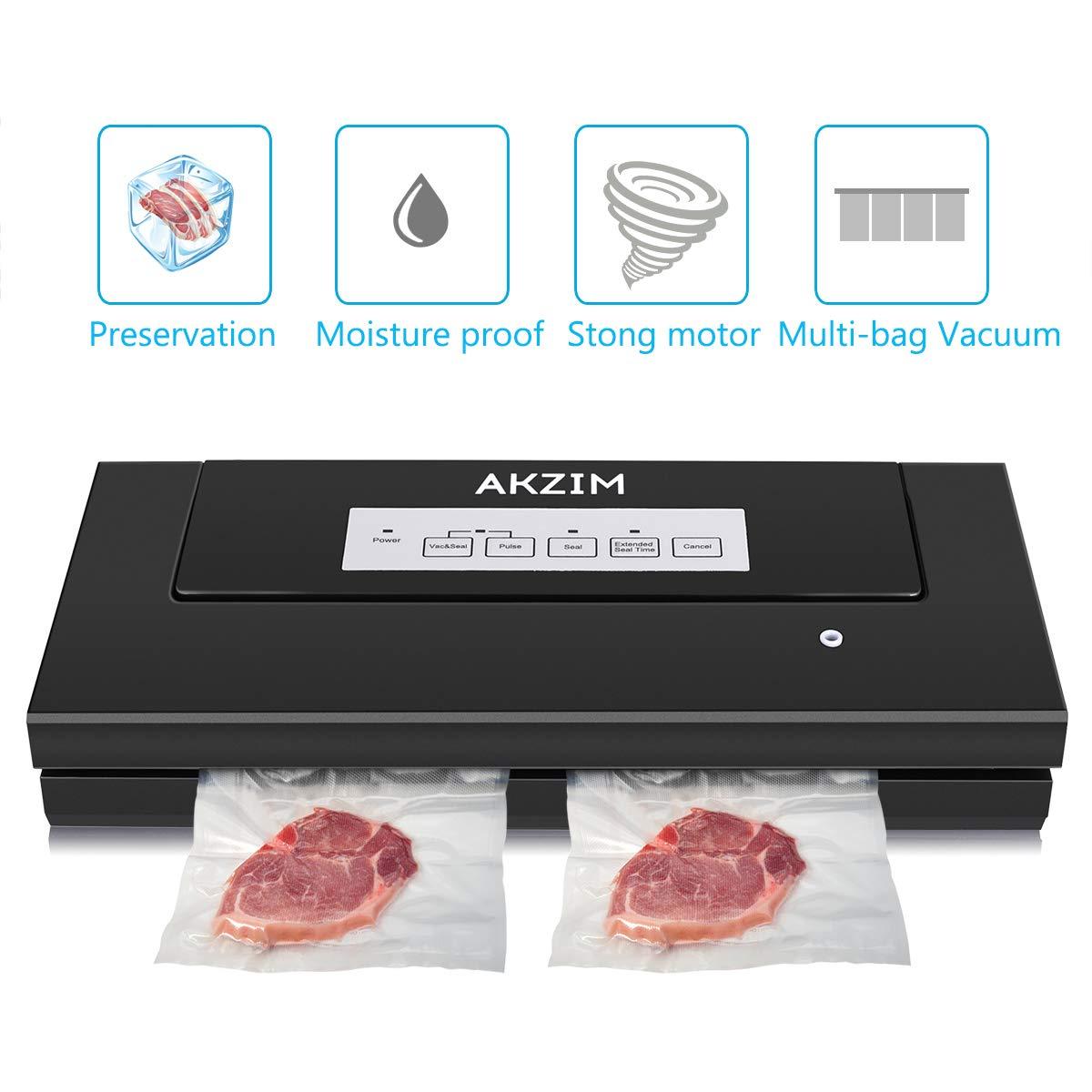 Sous Vide Vacuum Sealer, Akzim Automatic Food Vacuum Sealer Machine with 10 Vacuum Sealer Bags,Multi-use Vacuum Packing Machine for Food Preservation(black)