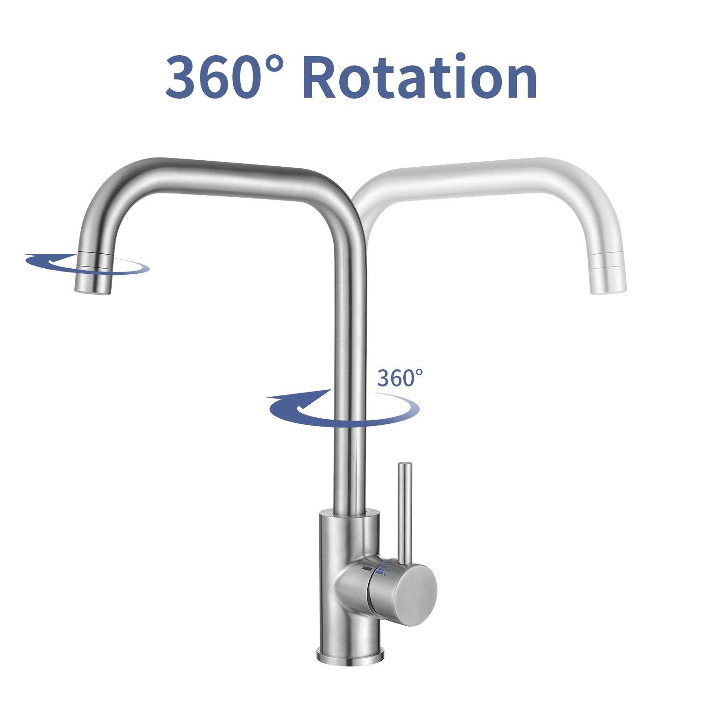 Homelody Niederdruck K/üchenarmatur 360/° Drehbar Wasserhahn Armatur K/üche Einhebelmischer Sp/ültischarmatur Mischbatterie Einhandmischer f/ür Sp/üle