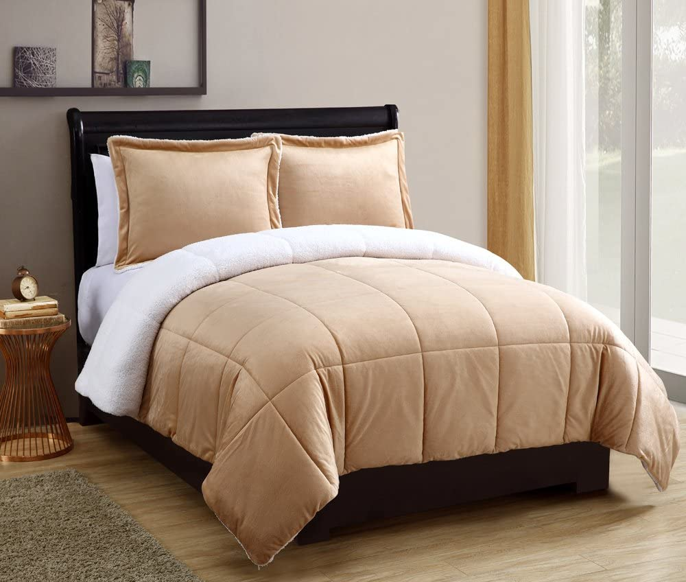 VCNY Home Micro Mink Reversible Sherpa 2 Piece Bedding Comforter Set, Twin, Taupe