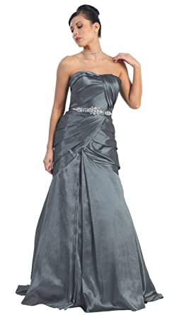 Strapless Taffeta Prom Dress Long Gown #724 (4, Charcoal)