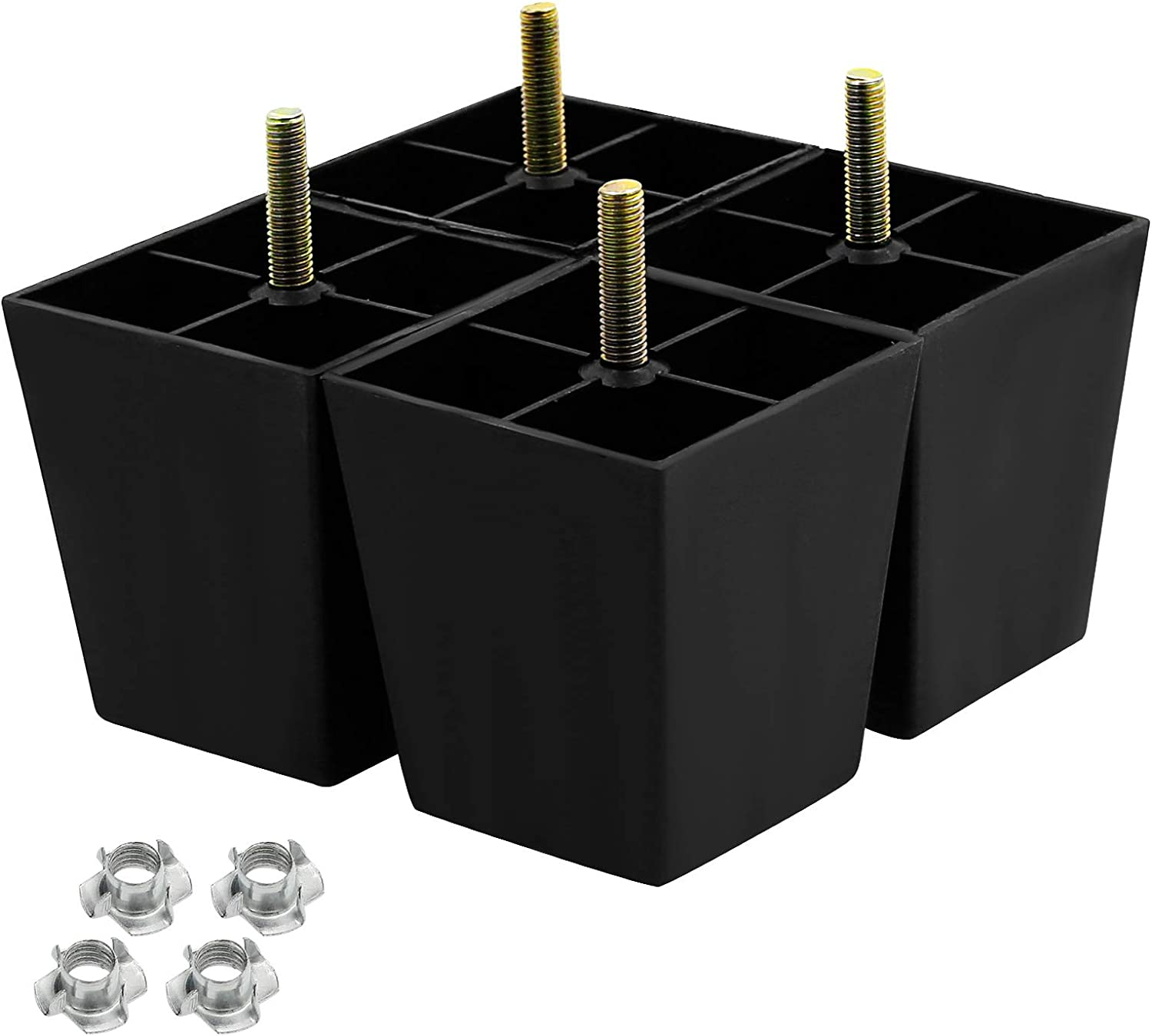Seimneire 4Pcs 3 Inch Sofa Legs, Plastic Couch Feet Square Furniture Legs with M8 Hanger Bolts for Sofa Dresser Cabinet Chair Bed Coffee Table