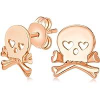 Sweet Small Heart Eyes Caribbean Pirate Skull & Crossbones Stud Earrings For Men For Women Teen Rose Gold Plated 925…