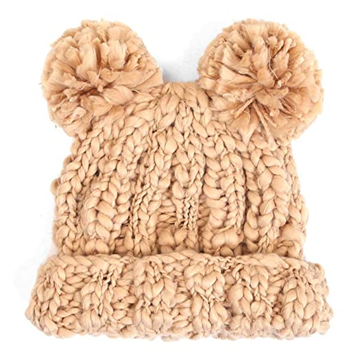 Amazon.com  7 LUXE Teddy Bear Knit Beanie in Camel  Clothing 2b5c5c4efac