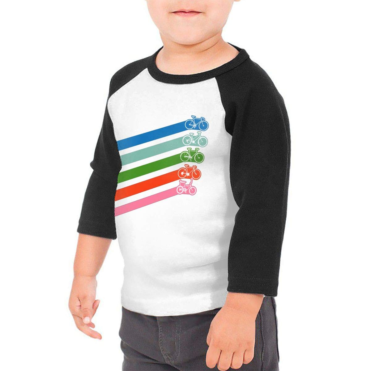 yimo Retro Bike Stripes Unisex Toddler Baseball Jersey Contrast 3//4 Sleeves Tee