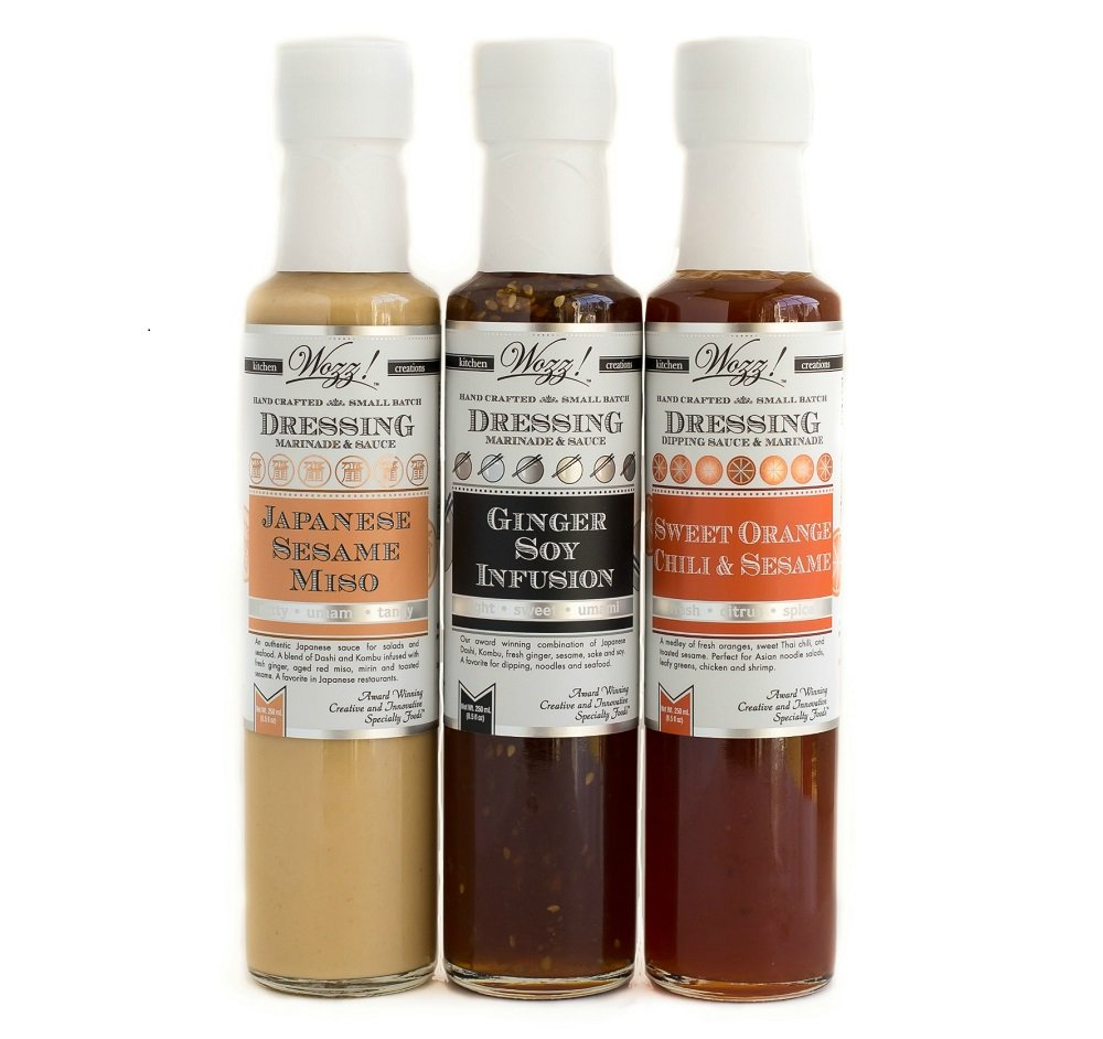 Wozz Kitchen Creations Asian Sauces Collection Set of 3 (8.5 fl. oz each) - Ginger Soy Infusion, Japanese Sesame Miso, Sweet Orange Chili Sesame - All Natural - NON GMO